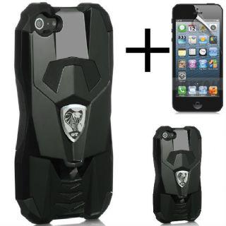 Apple iPhone 5 Cobra GT Hybrid Hard Soft Black Case Sports Car Screen