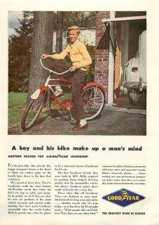 1947 Goodyear Boy Bike Bicycle Tires Vintage Color Ad