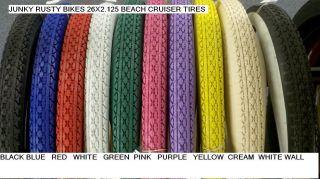125 Beach Cruiser Bike Tires Solid Color Tan Red Blue Pink