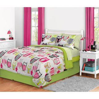 8PC Girl Green Pink Owl Zebra Bird Queen Comforter Set Bed in A Bag