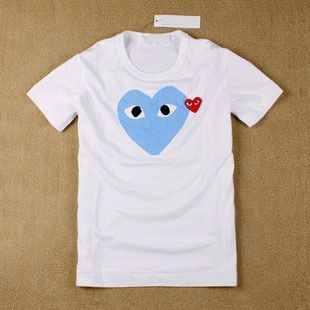 Comme Des Garcons CDG Play Heart Ladys T Shirt Blue Heart Sz S