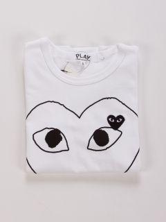 Comme Des Garcons CDG Play Heart Red Outline Heart in White Color Tee