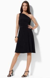 Lauren by Ralph Lauren One Shoulder Matte Jersey Dress