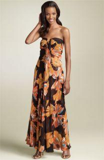 Donna Ricco Strapless Silk Maxi Dress