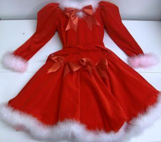 Custom Made Mrs. Santa Claus Figure Skating Dress Ice Size Girls 12 14