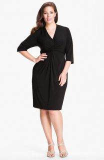Donna Ricco Knot Front Jersey Dress (Plus)