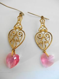 Goldtone Pink Crystal Heart Dangle Hoop Dangle Pierced Earrings