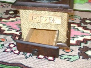 Vintage Hand Crank Coffee Grinder Mill Unique Covered in Burlap