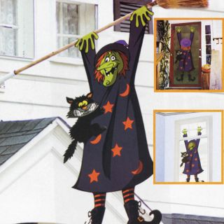 5ft Halloween Comedy Crashed Witch 3D Wall Window Hanging Decoration