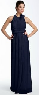 JS Collections Navy Blue Pleated Mesh Ruffle Long Formal Halter Dress
