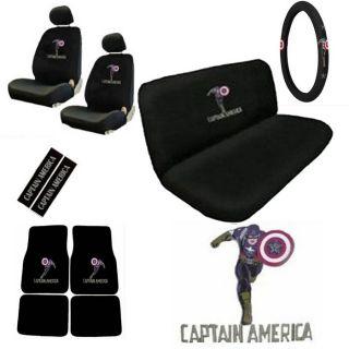 15pc Set Truck Seat Covers Marvel Avenger Captain America Floor Mats