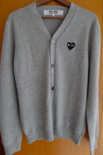 Comme Des Garcons Play Gray Cardigan Black Emblem for Men