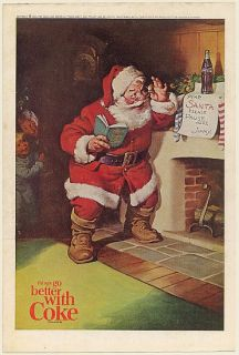1963 Coke Santa Claus Coca Cola Bottle Fireplace Kids Note Christmas