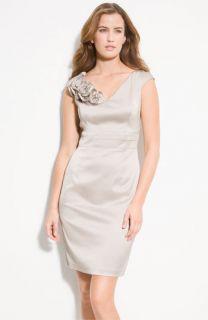 Donna Ricco Satin Sheath Dress (Petite)