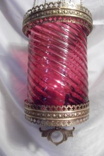 Large Antique Cranberry Glass Swirl Hanging Lamp Ornate Solid Brass
