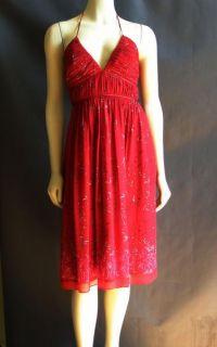 BCBG Max and Cleo Red Silk Chiffon Floral Print Halter Sun Dress 2 XS