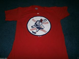 Cleveland Indians Retro Logo T Shirt Mens Small MLB Majestic Baseball