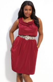 Donna Ricco Belted Sleeveless Dress (Plus)