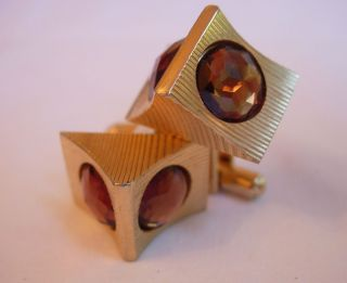 Vintage Mens Gold Tone Cufflinks Faceted Amber Colored Rhinestones