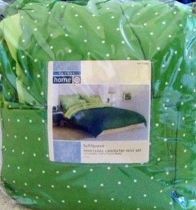 Casual Home Reversible Comforter Set New Full Queen Green White Polka
