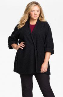 Eileen Fisher Merino Wool Roll Sleeve Jacket (Plus)