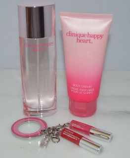 New Clinique Happy Heart 3 Item Set Womens Perfume Body Cream Mini