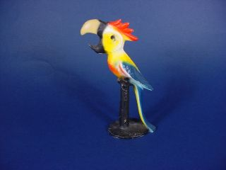WRIGHT PAINTED CAST IRON PARROT MACAW BIRD BOTTLE OPENER RARE COND