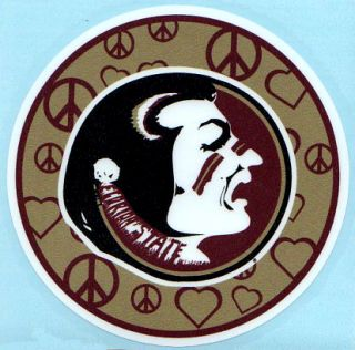 Seminoles PEACE AND LOVE CIRCLE Vinyl Decal Car Truck Sticker FSU