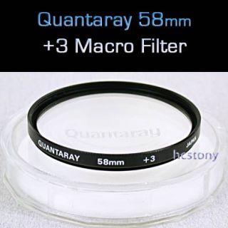 QUANTARAY 58mm Close Up~MACRO +3 Filter~Case~Fits All 58mm Threaded