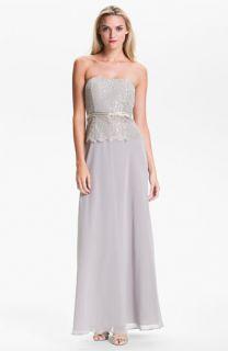 Calvin Klein Strapless Metallic Lace & Chiffon Gown