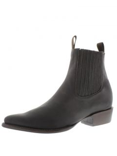 Mens Dark Brown Leather Short Ankle Cowboy Boots Western Rodeo Biker
