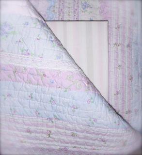 Lavender and Blue Full Queen Quilt Pillow Sham Set Shabby Ruffles