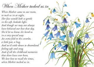 Large A5 Memorial Sympathy Bereavement Grave Keepsake Card Mother Mum