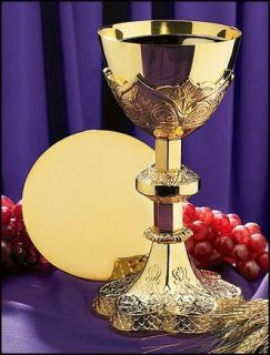 12 oz 9 3 4 Communion Ornate Chalice W Paten Christian Chapel Set Gold