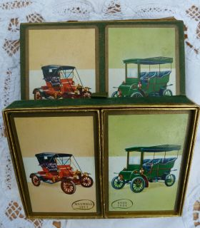 Double Deck  Congress Pinochle Cards Vintage Car Design in Felt Box