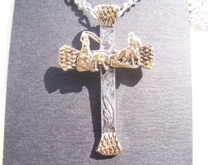 Western Sterling Silver Plated Horseshoe Nail Team Roper Cross
