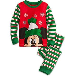 Disney Mickey Mouse Boys Pajamas Size 4 PJs 2pc Set Christmas Holiday
