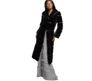 Luxe Rachel Zoe Full Length Faux Fur Coat with Patent Trim   A209416