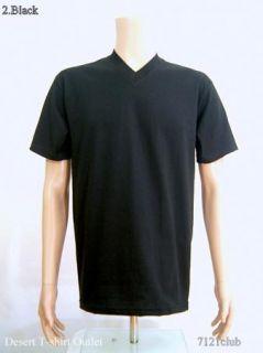 size 2XL PROCLUB mens plain BLACK V neck T shirts blank PRO CLUB XXL