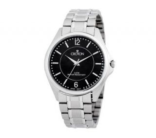 Croton Mens Stainless Steel Black Dial Watch —