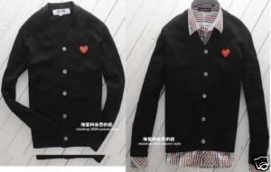 Comme Des GarconsPlay Red Heart Black Cardigan Sz XL