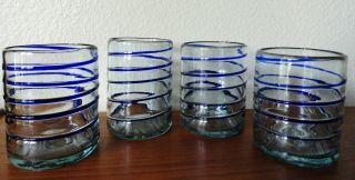 Vintage Mexican Handblown Glass Cobalt Blue Wine Water Glasses Set of