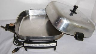 vtg HOOVER electric skillet fry pan slow cook heavy duty stainless