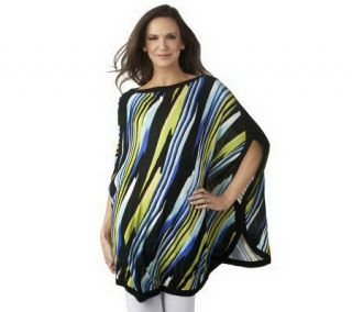 Kris Jenner Kollection Abstract Stripe Boat Neck Sweater Poncho
