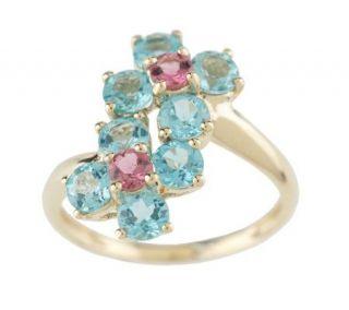20 ct tw Apatite & Pink Tourmaline Flower Ring 14K Gold —