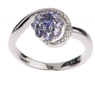 25 ct tw Tanzanite Sterling Diamond Accent Flower Ring —
