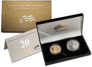 2006 W US American Eagle 20th Anniversary Gold & Silver Coin Set
