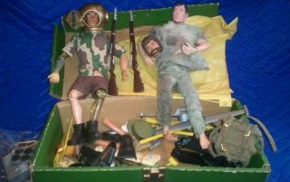 Vintage 1960s 70s 12 inch Gi Joe Action Figures and Accessories Lot