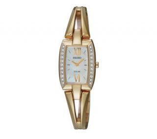Seiko Ladies Goldtone Solar Watch with Mother of Pearl Dial —