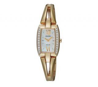 Seiko Ladies Goldtone Solar Watch wi Moer of Pearl Dial —